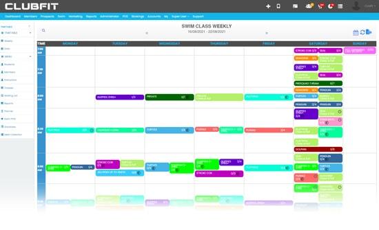 Swim School Software Timetable